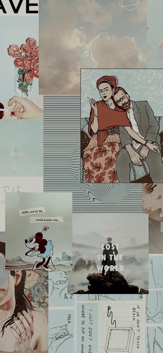 拼贴 海报 便签 剪纸 梵高 米妮 蓝色