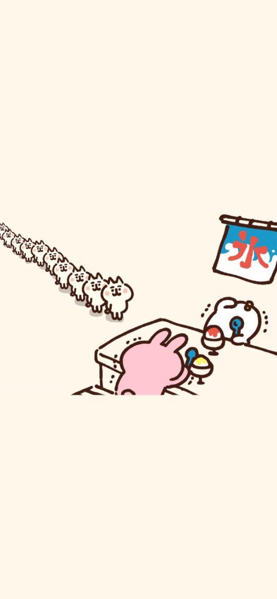 卡通 兔子 排队 买冰