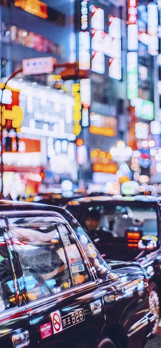 街头 夜景 车辆 出租车