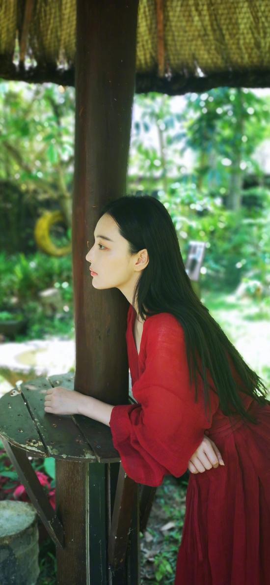 张馨予 红裙子 长发 古风 演员 明星 艺人