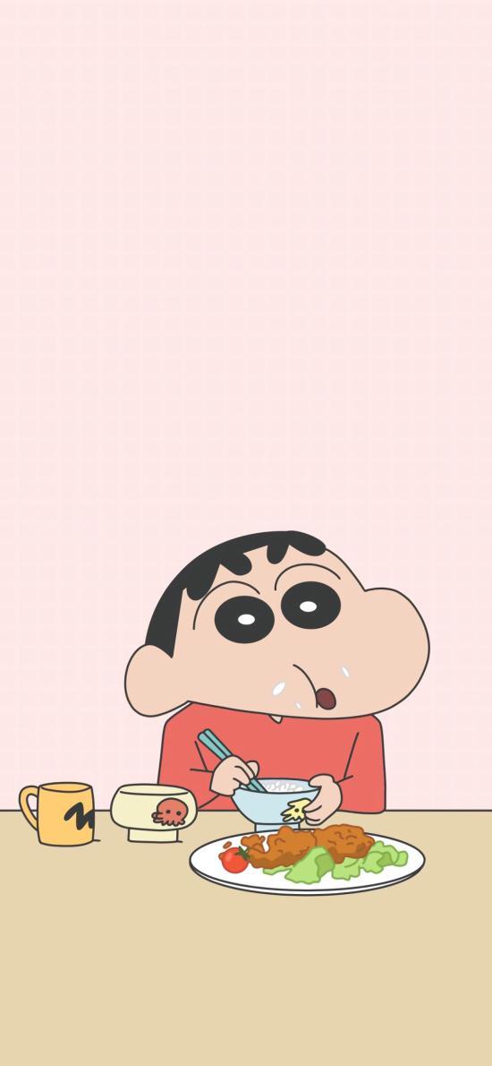 蜡笔小新 日本 动画 粉色 吃饭 饭粒