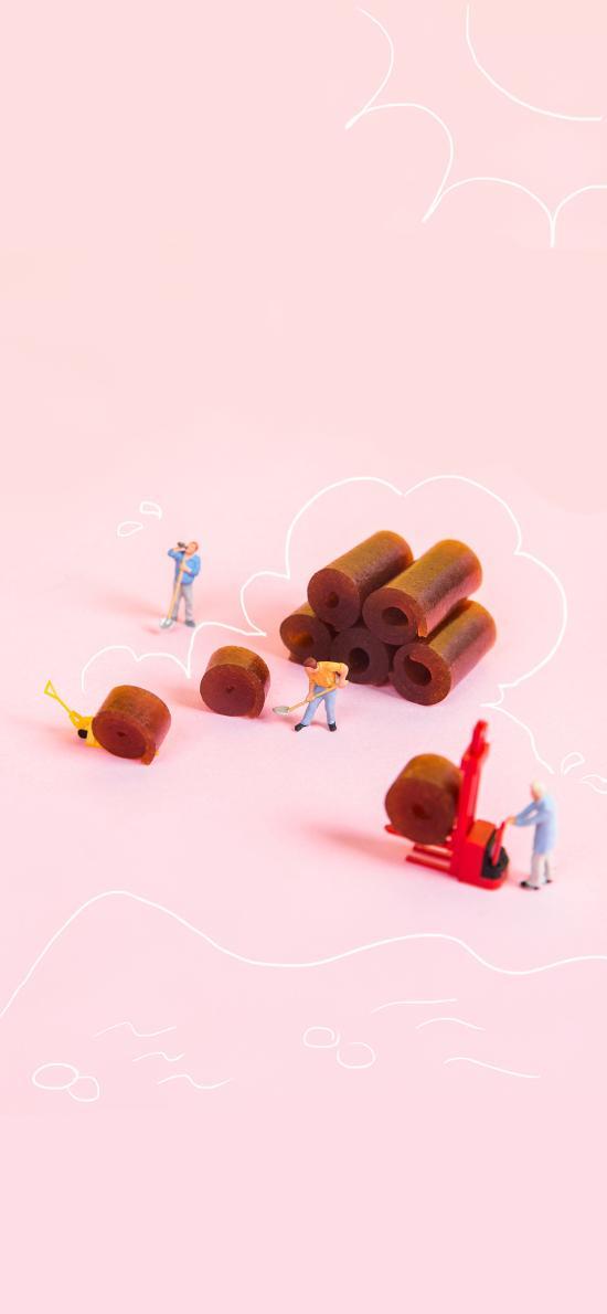 工人 果丹皮 山楂卷 搬运 食物 组合 粉色