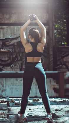 健身 运动 健美 背影 女孩