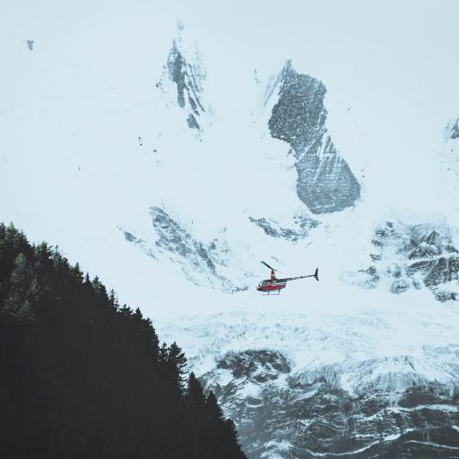雪山 白雪覆盖 直升机 飞机