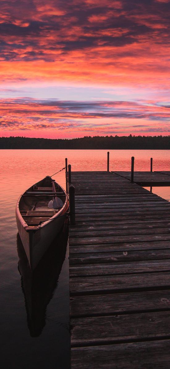 湖泊 船只 天空 夕阳美景