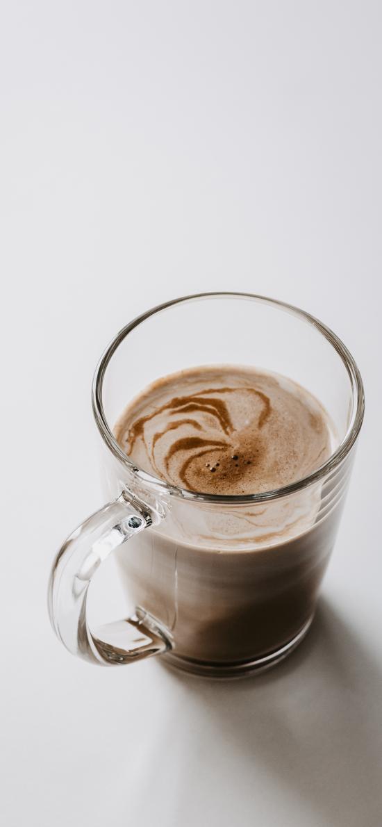 咖啡 玻璃杯 奶泡
