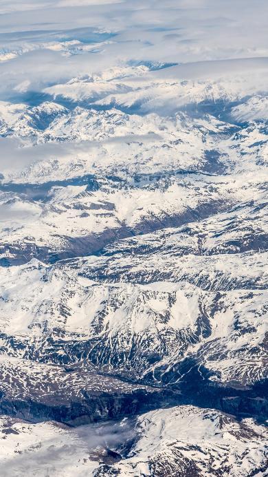 雪山 航拍 山脉 雪景