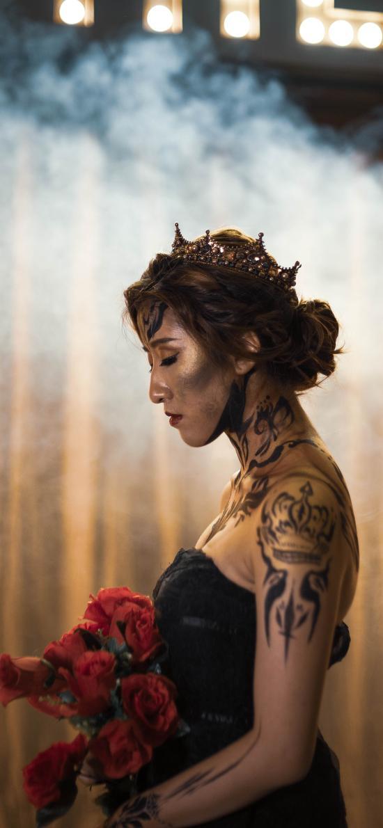 个性 性感 纹身 刺青 鲜花 礼花 皇冠