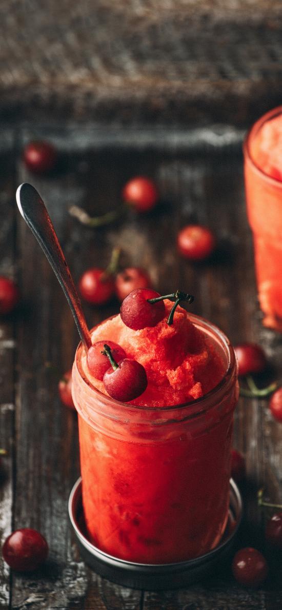 调制 冰沙 饮品 樱桃