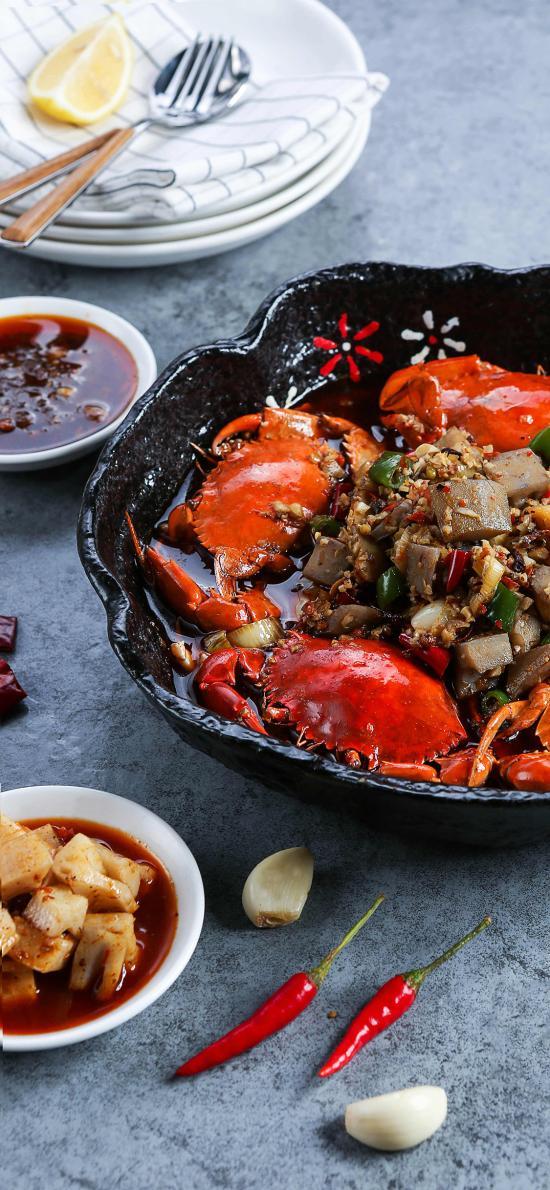 海鲜 螃蟹 干锅 辣椒蒜头