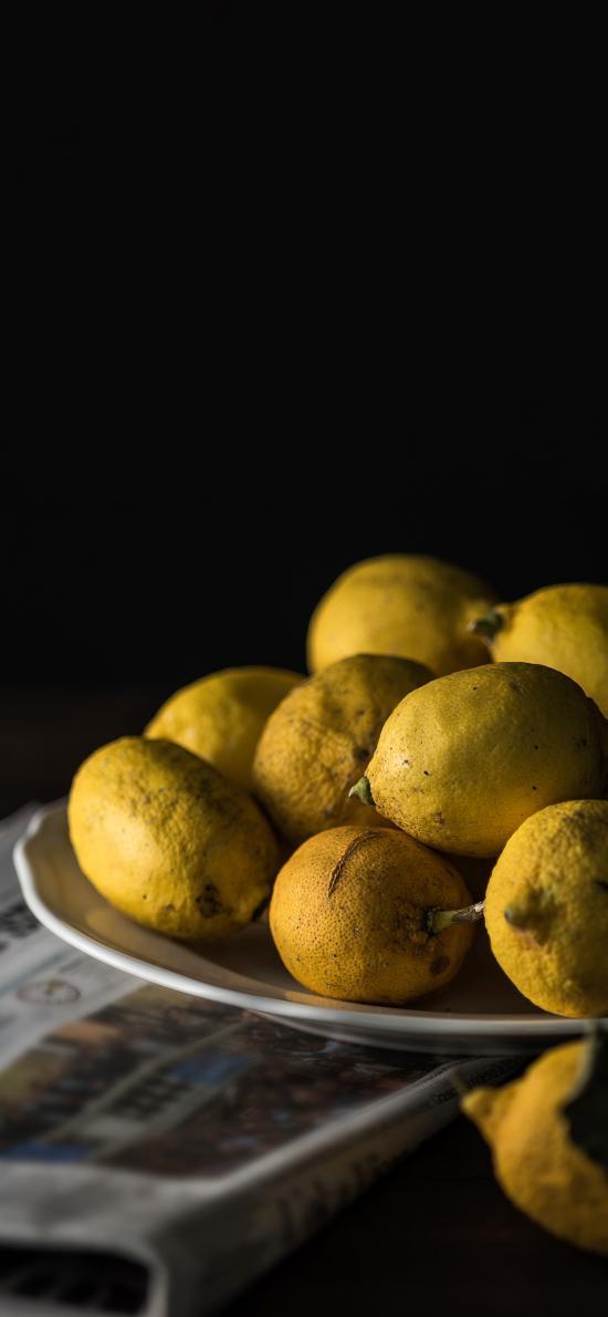 盘子 水果 柠檬 维C