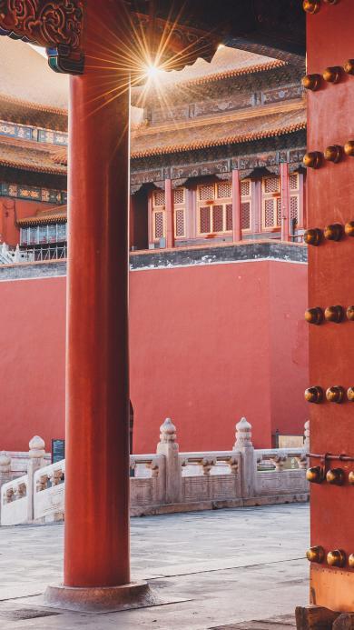 故宫 建筑 红墙 柱子 门