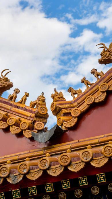 故宫 建筑 屋檐 瓦片 天空