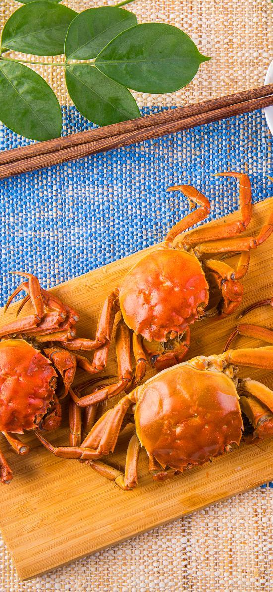 大闸蟹 螃蟹 案板