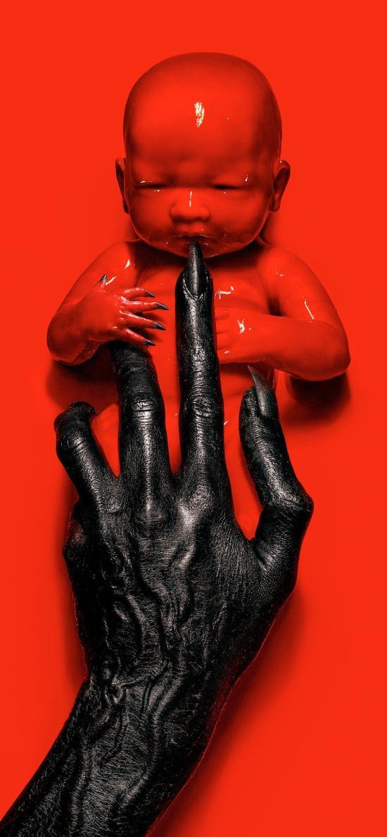 美恐8 启示录 恐怖片 欧美 红色 婴儿 海报 电影