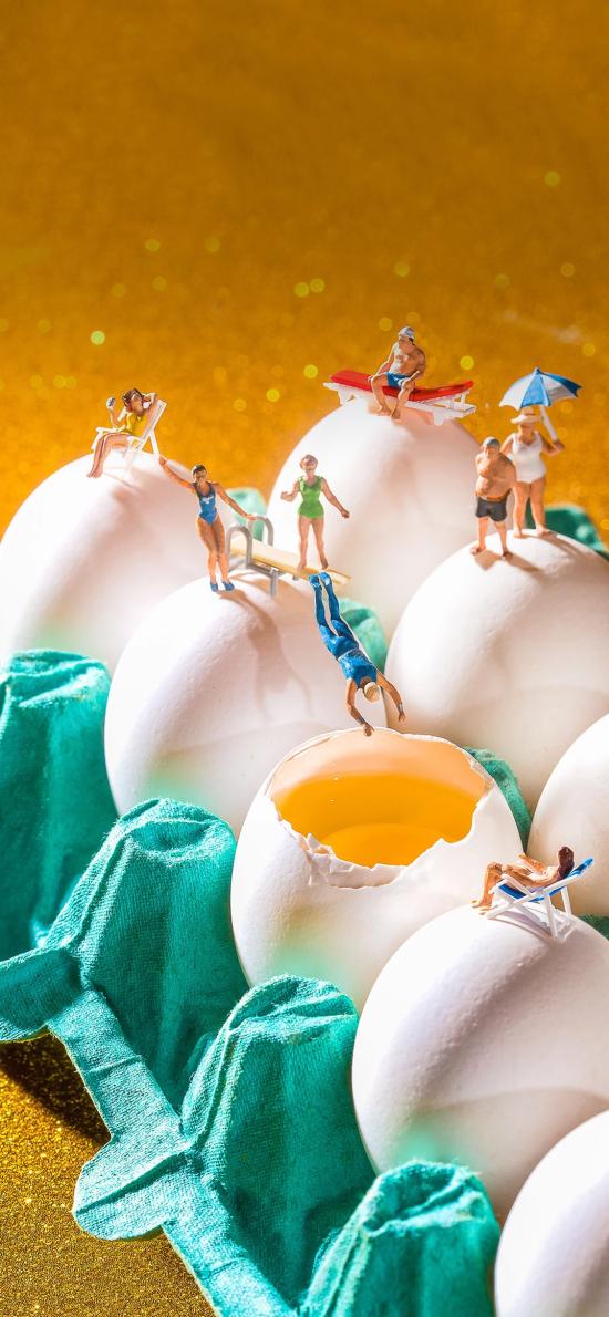 创意 拍摄  鸡蛋 泳池 小人