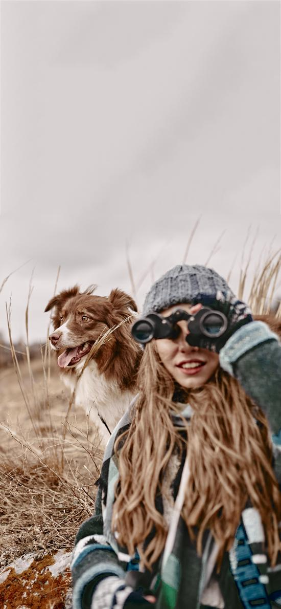 郊外 欧美美女 宠物狗 边牧