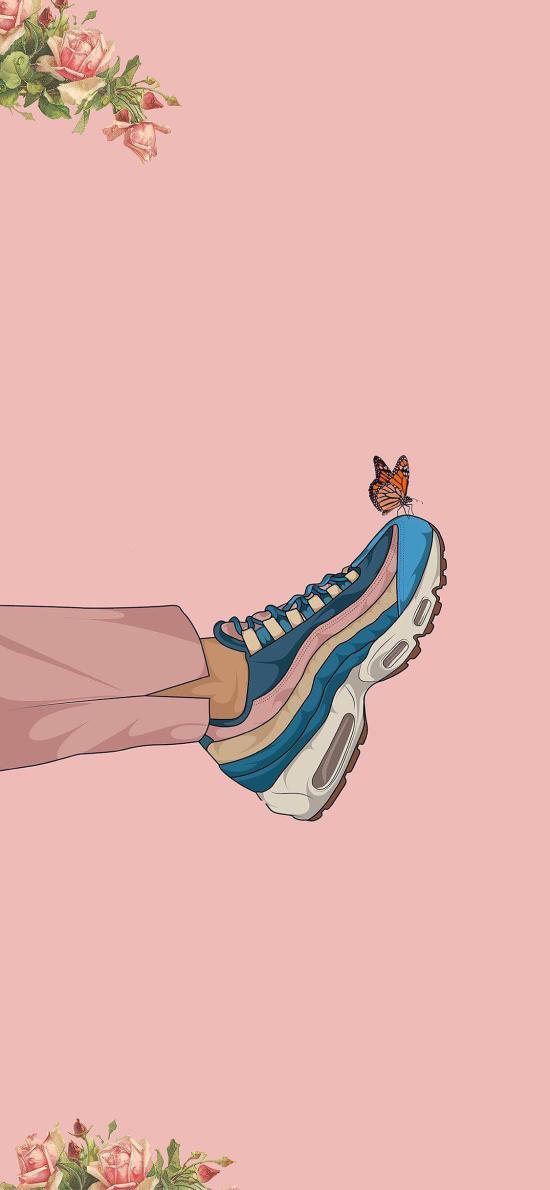 鞋子 运动鞋 蝴蝶 粉色 插画 玫瑰