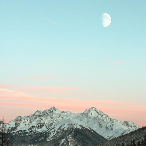 景色 月亮 山顶  雪顶