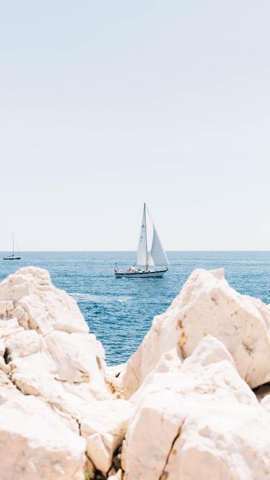 景色 帆船 岩石 海洋