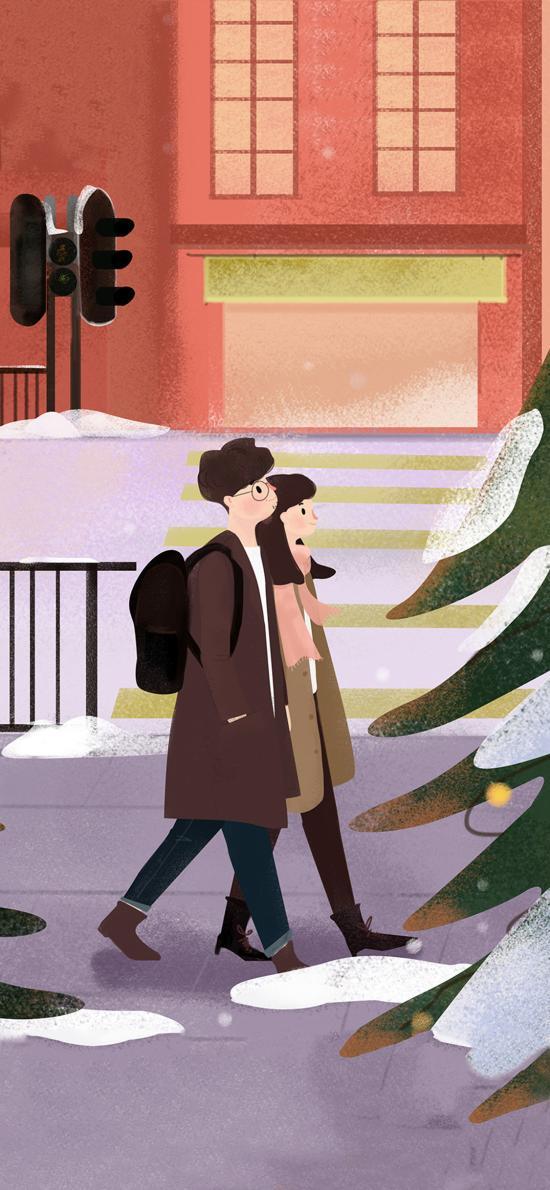 情侣 插画 街道 并肩