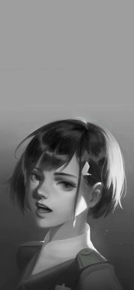 动漫 少女 萝莉 黑白