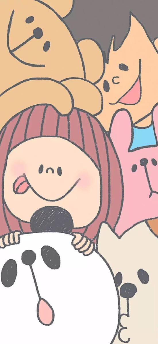 简笔 卡通 熊猫 女孩