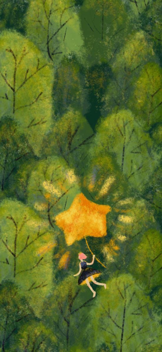 插画 丛林 女孩 星星气球