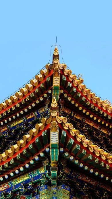 故宫 建筑 屋檐 瓦片 天空 建筑