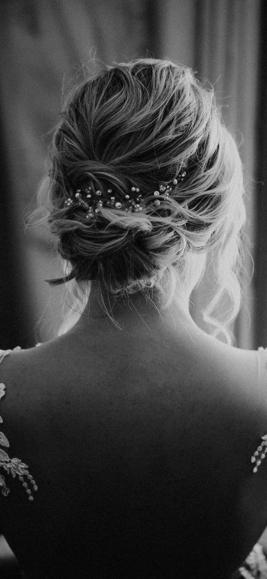 女孩 背影 婚纱 黑白