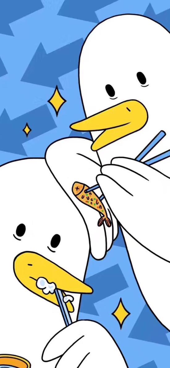 卡通 小鸟 刷牙 喂食
