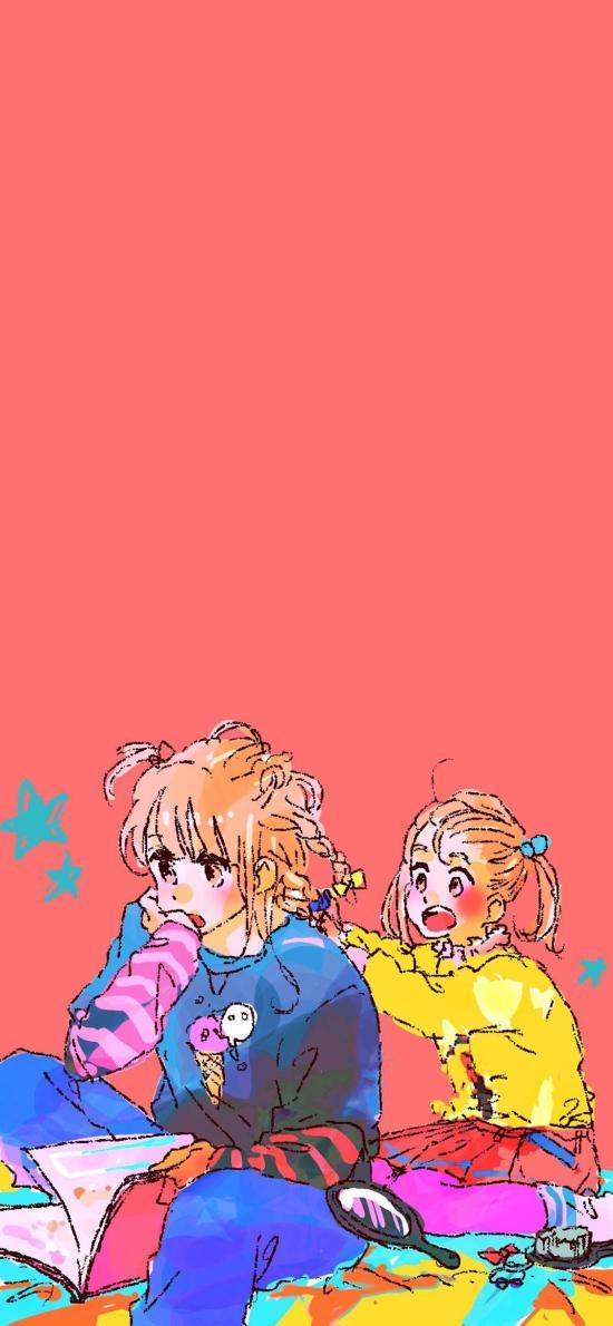 纯色背景 动漫 少女 插图