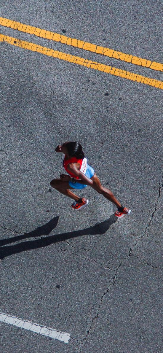 田径 跑步 马路 运动 体力