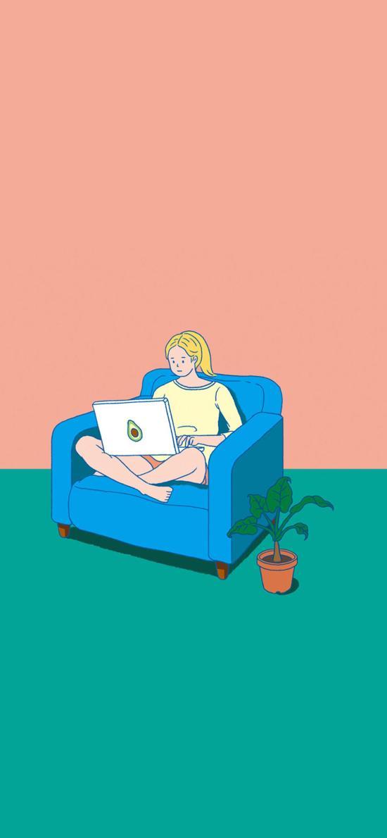 女孩 插图 沙发 电脑 盆栽