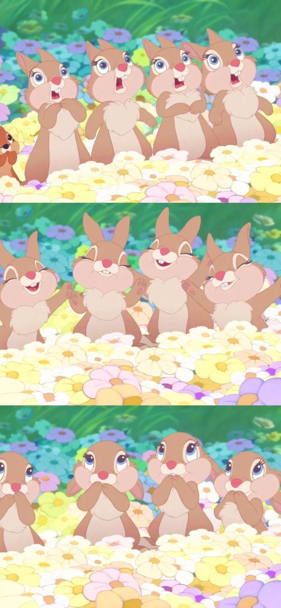 小鹿斑比 动画 卡通 兔子 可爱 花丛