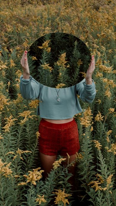 花丛 女孩 镜子 反射