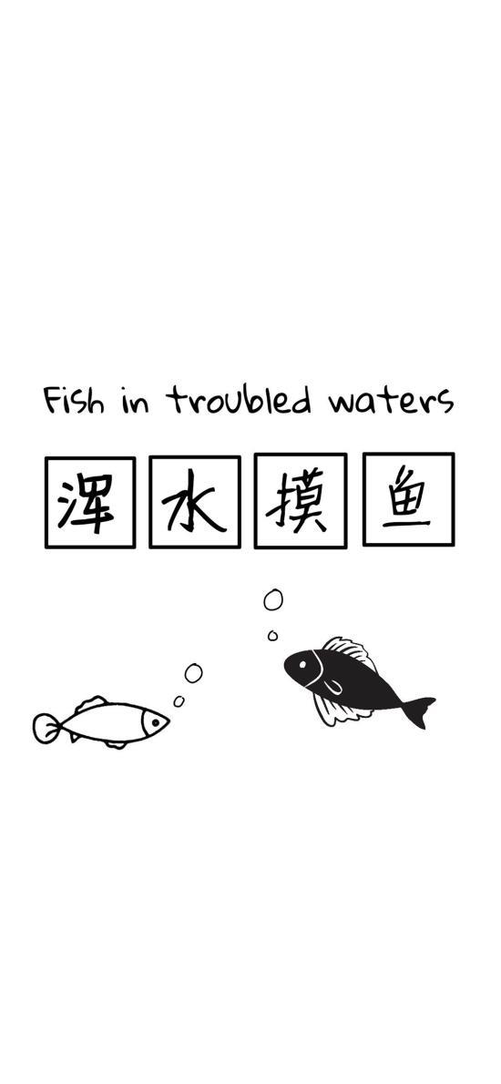 浑水摸鱼 fish in trouble waters
