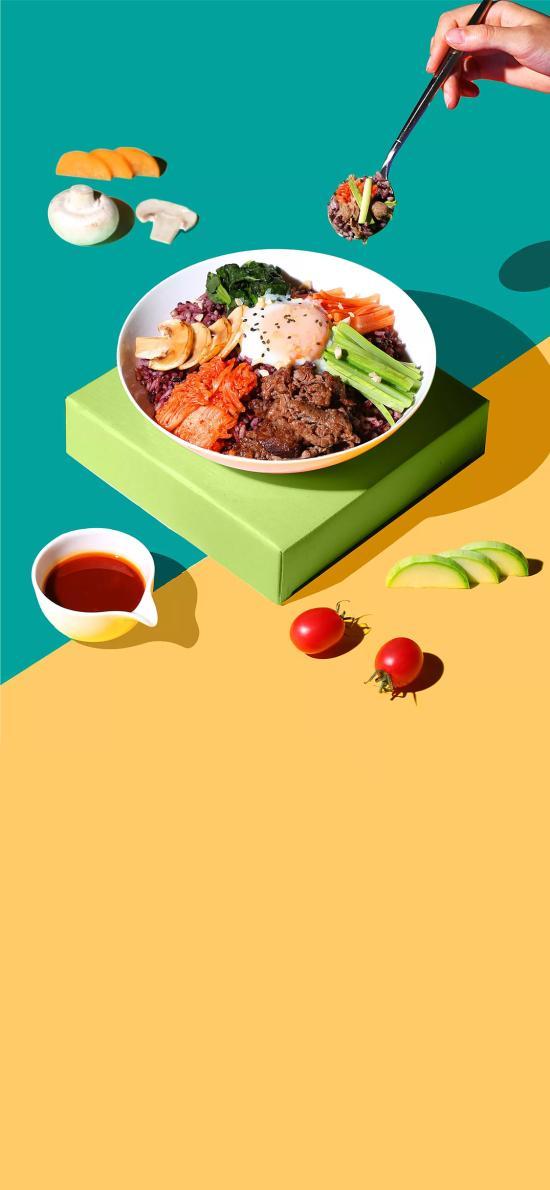 杂粮饭 蘑菇 肉 温泉蛋 水果