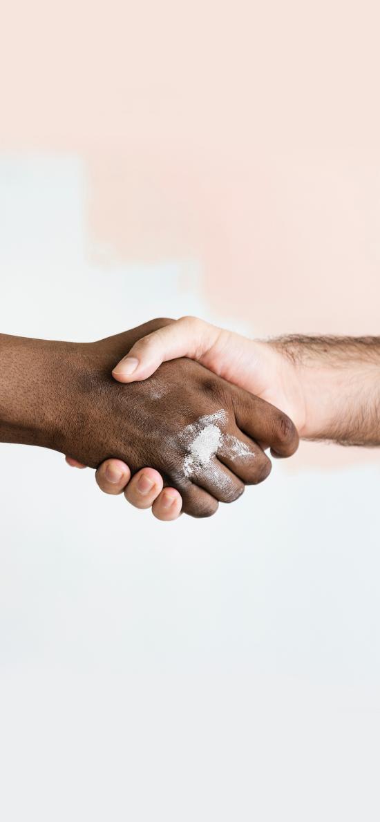 手部 肤色 握手 和平