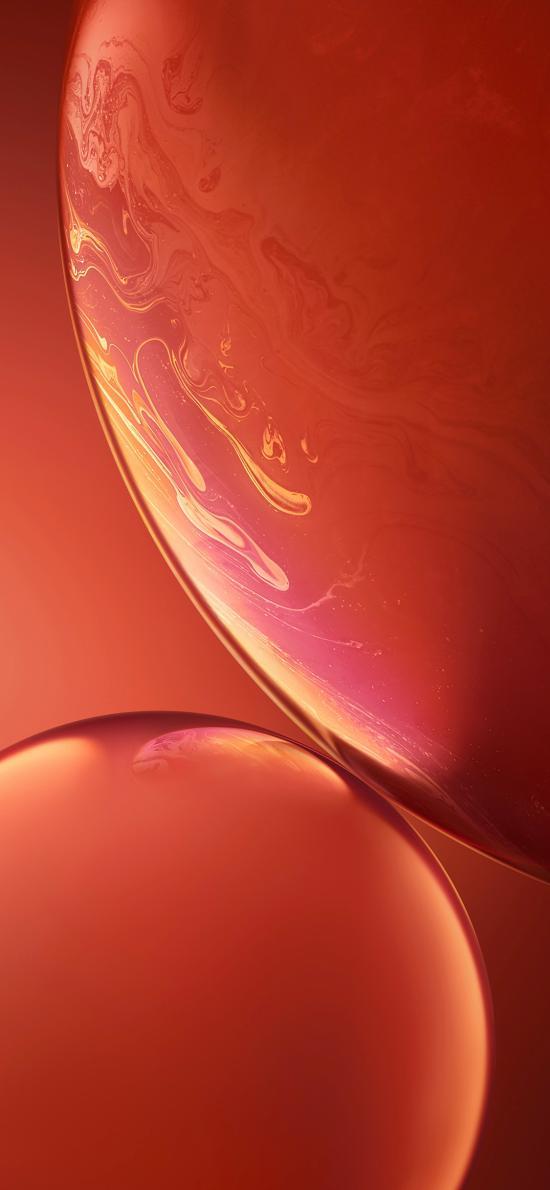 气泡 原生 iPhone xs 内置 橘红