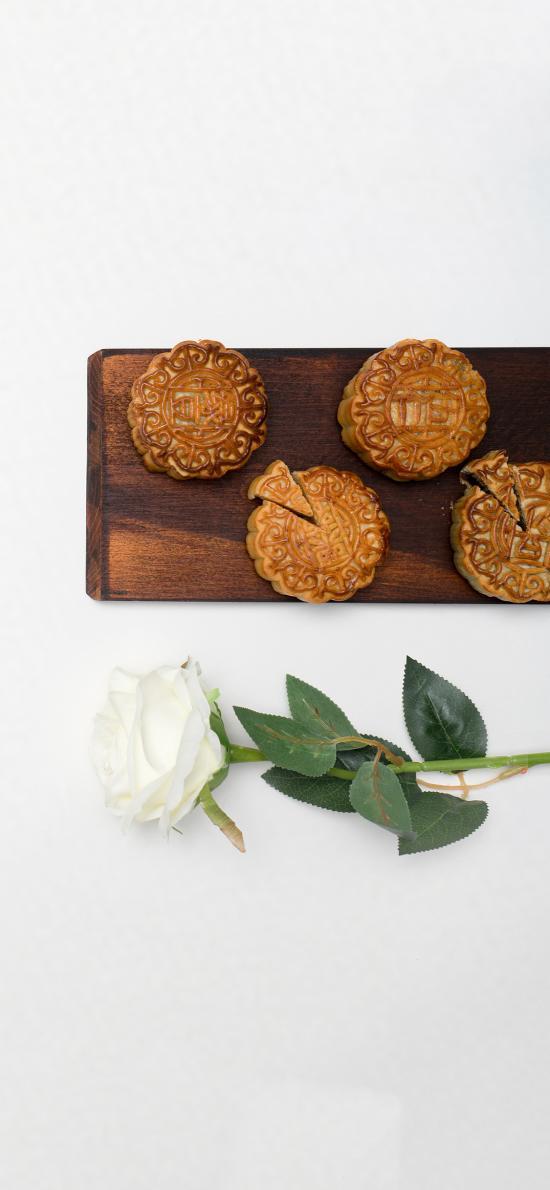 糕点 月饼 中秋节 白玫瑰