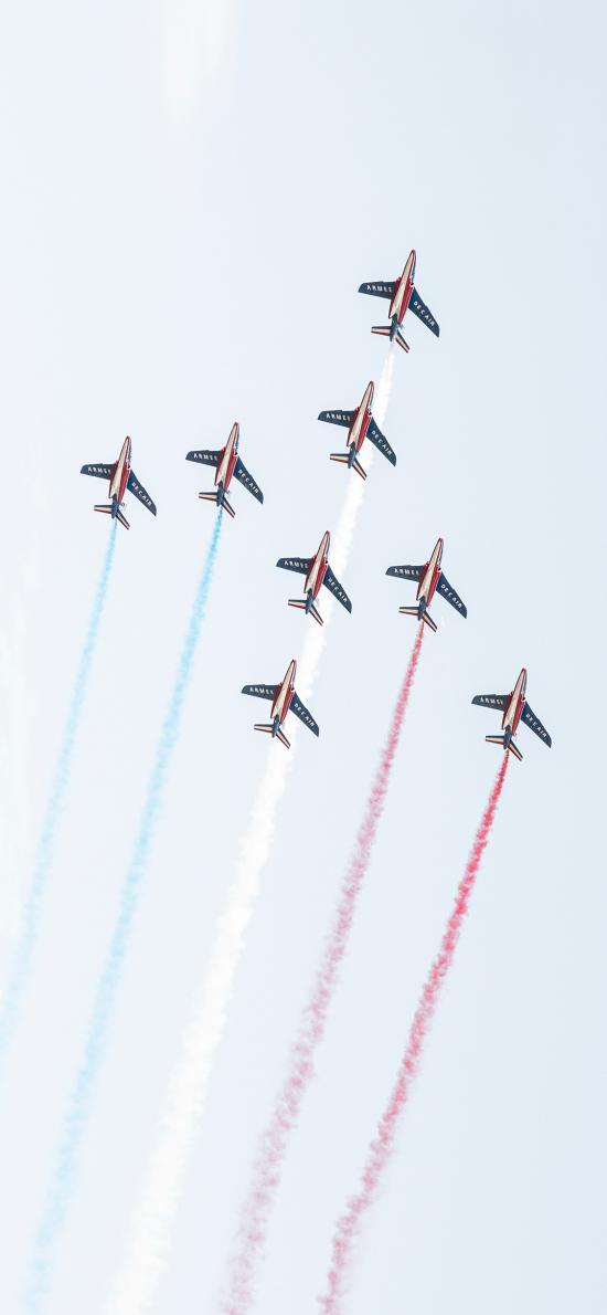 飞机 天空 演习 喷气式 干冰