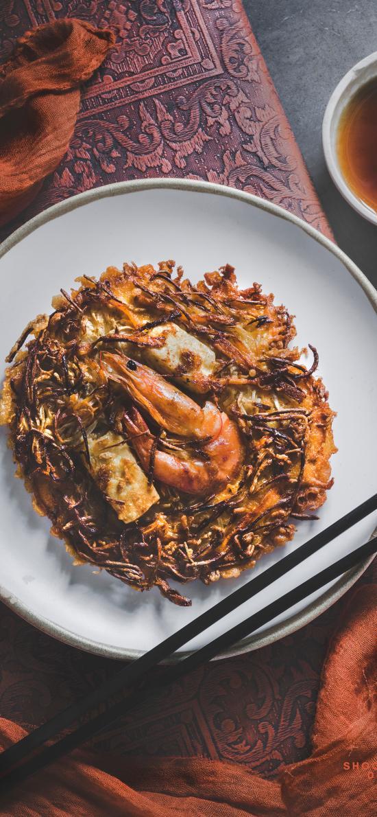 酥饼 虾 油煎 土豆饼