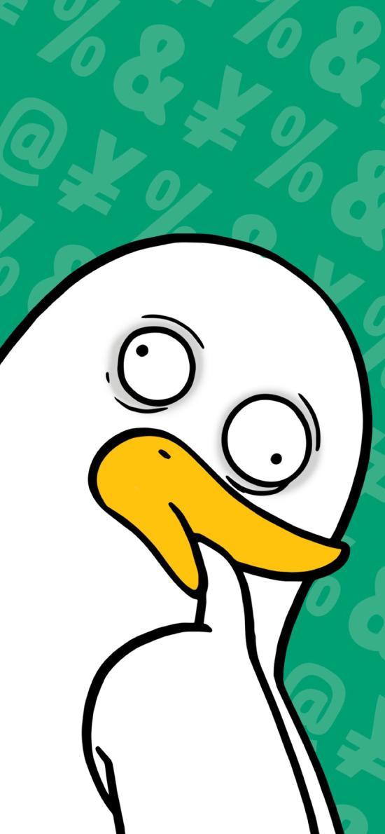 卡通 白鸽 呆萌 绿色背景
