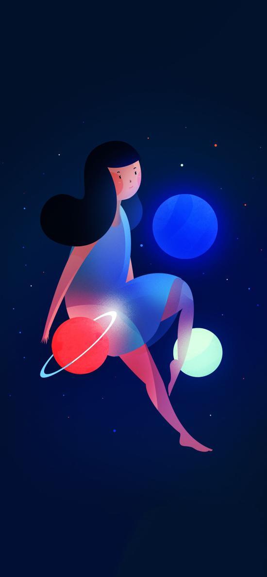 卡通 女孩 行星 梦幻