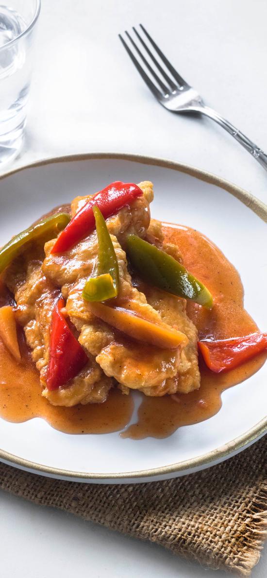 餐点 烹饪 彩椒 猪扒 餐具