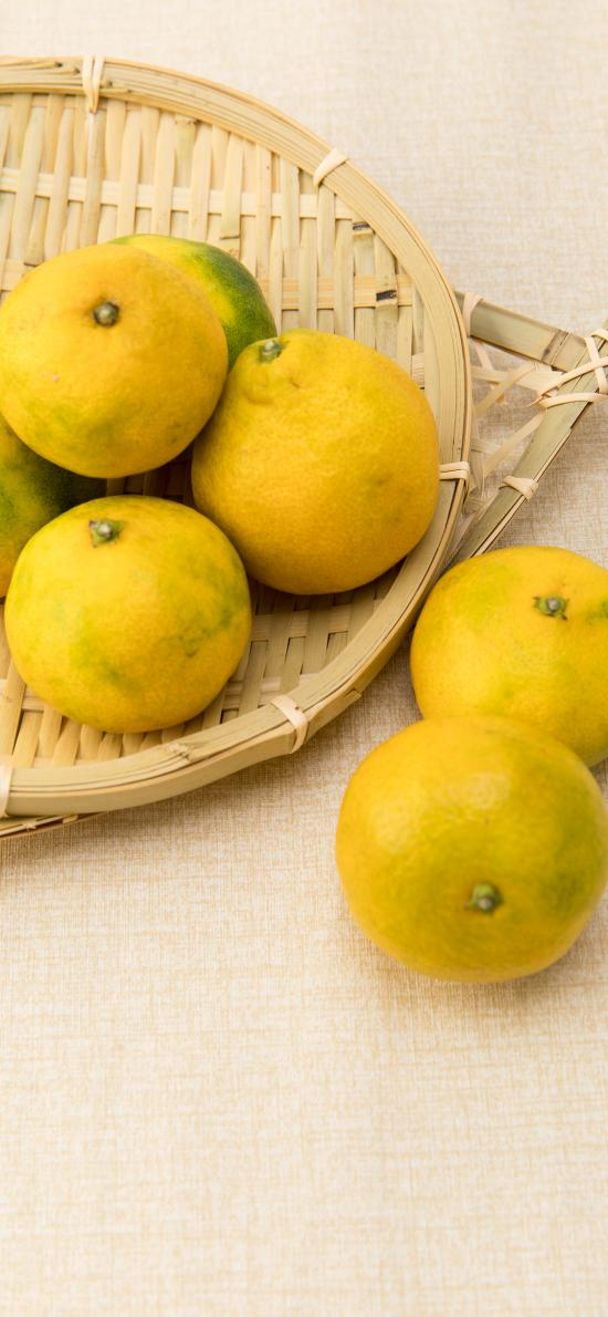 橘子 水果 柑橘 编织篮