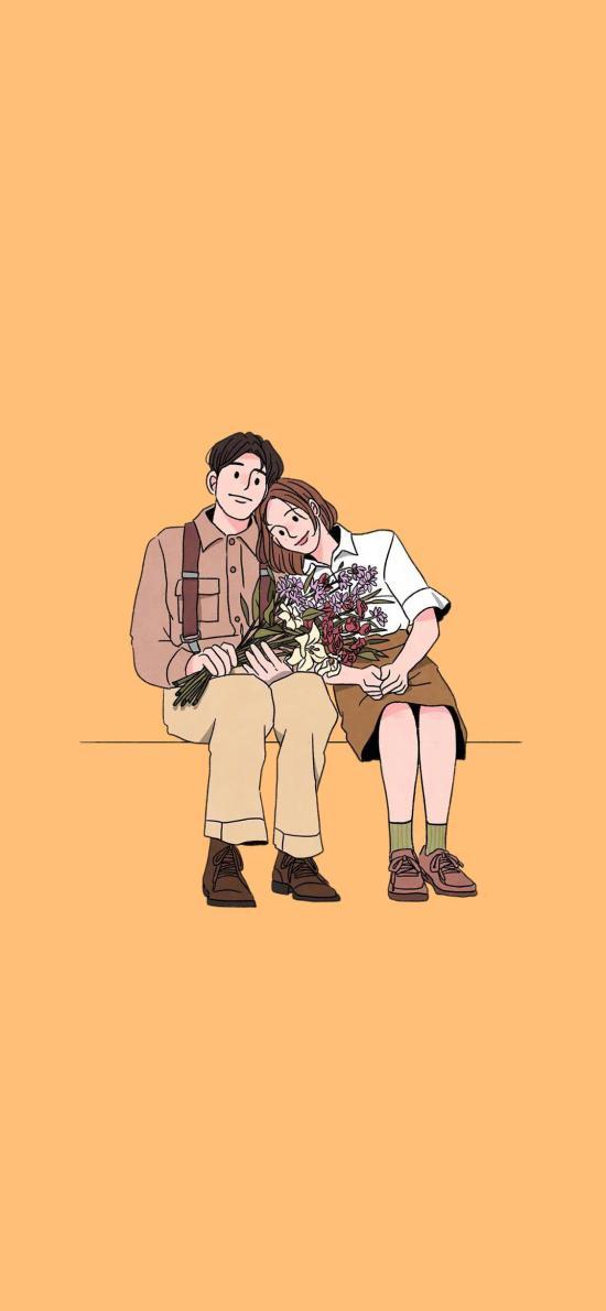 情侣 爱情 依靠 浪漫 插画
