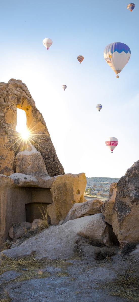岩石 阳光 热气球 唯美