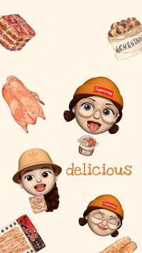 卡通 女孩 美食 delicious